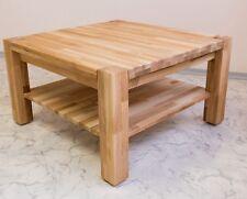 Couchtisch Beistelltisch Tisch Eiche massiv geölt 80 x 80 Ablage Holz mit Rollen
