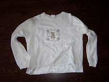 The Disney Catalog off white size large L LG Mickey Mouse sweatshirt w/ embroide
