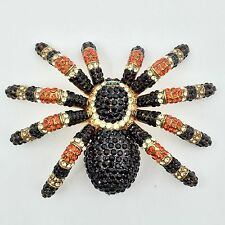 Halloween Spider Swarovski Crystal Brooch Pin - Elegant Creepy Tarantula Jewelry
