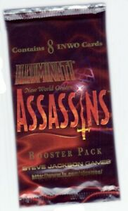 1995 Illuminati New World Order Assassins Opened booster pack with 8 INWO cards