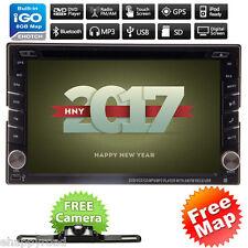 GPS Navi HD Double 2 DIN Car Stereo DVD Player In Dash Bluetooth Radio MP3 Cam