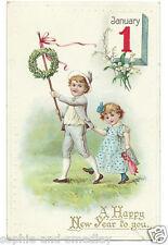 1912/13 New Year Postcard - Boy, Girl, Wreath, January 1 Calendar