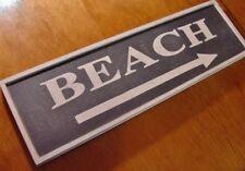 Coastal Beach Arrow Sign Decor Nautical Blue Tropical Home Framed Wood Design