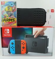 Nintendo Switch 32GB Console Neon Red Blue Joy-Con + Game ARMS + Case Bundle