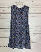 Umgee USA Boutique Women's S Small Blue Sleeveless Boho Summer Tunic Top Tank
