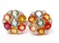 4.71Ct Round Cut Multi-Colored Sapphire & Diamond Cluster Earrings 14k Rose Gold
