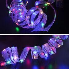 4M LED À Piles Fil Cuivre Ruban Soie Guirlande Lumineuse Décor Arbre Noël Fête