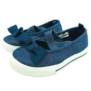 Carters Denim Navy Slip Ons Toddler Girls Size 6 Shoes With Bow Slight Sparkle