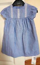 M&S baby girl 9-12 months NWT Blue Denim Dress 100% cotton