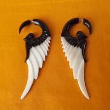Black and White Wing Fake Gauge Earrings Split Plug Faux Expander Gothic Jewelry
