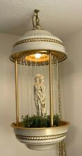 """Awesome Vintage Hanging Mineral Oil Rain Lamp With 3 Gold Goddess Statue 28"""" Tal"""