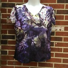 CHRISTOPHER & BANKS  sublimination womans xl blouse v neck abstract print