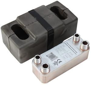 Plattenwärmetauscher + Isolation B3-12-20 mit 2x1/2 & 2x3/4 Zoll Anschl. 45kW