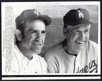 YOGI BERRA {Mets}, WALT ALSTON {Dodgers} Managers WIRE PHOTO