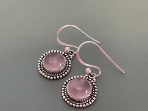 Genuine Sterling Silver 925 - Rose Quartz Gemstone Drop Earrings - 3 Grams