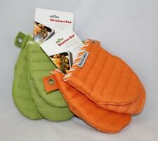 KITCHEN AID LOT OF 2 PAIR Mini Mitt Silicone Grip Oven Mitts - Green/Orange- New