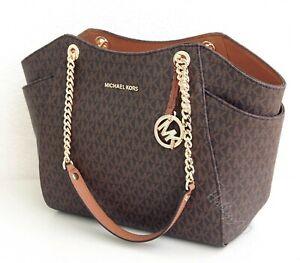 Michael Kors Bag Handbag Jet Set Travel Chain Tote Bag Braun New