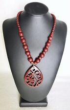 Vintage Brown Acrylic Bead Necklace With Large Intricate Tear Drop Pendant