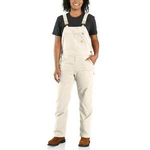 Carhartt Womens Rugged Flex Canvas Bib Overalls 102438 Size 1X 16W/18W Natural