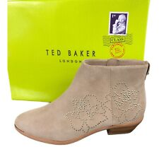 NEW Ted Baker Dakotas Tan Suede & Gold Studded Ankle Boots Women's Size 7.5 $260