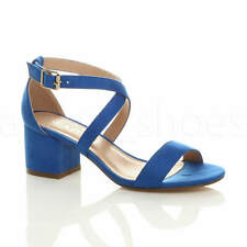 WOMENS LADIES MID LOW BLOCK HEEL CROSS STRAPS PARTY STRAPPY SANDALS SHOES SIZE