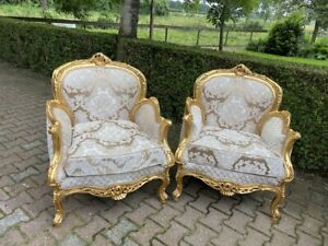 Handcrafted French Louis XVI Style Gold/beige Easy Chairs - A pair