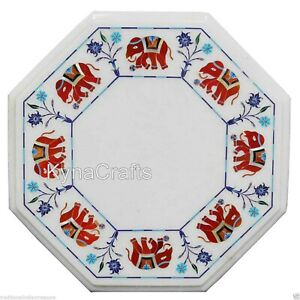 """White Marble Coffee Table Top Red Stone Inlaid Work Corner Table for Decor 15"""""""