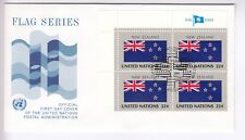 TIMBRE STAMP FDC COVER NATIONS UNIES USA Y&T# NOUVELLE ZELANDE DRAPEAU X 4 ~B74