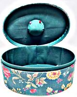 Allary Hand Crafted Accessory Box Green Multicolor Oblong Sewing Storage, Style