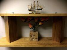 Solid Wood Iroko  Like Oak Teak Heavy Two Tier Wall Shelf Handmade Offcuts