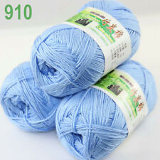 3 balls×50g Super Soft Natural Smooth Bamboo Cotton Yarn Knitting Sky Blue 910