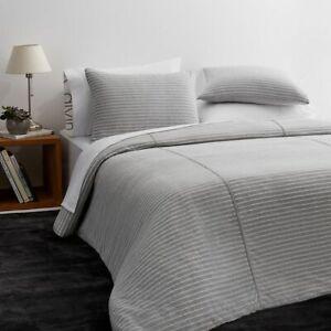 Calvin Klein Modern Cotton Lennox Duvet Cover Grey/White Stripe Full/Queen $170