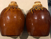 Hull Pottery salt and pepper shakers with script writing VINTAGE