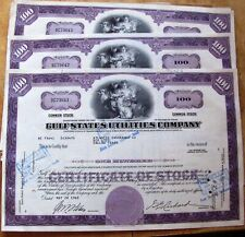 20 in sequence stock certificates Gulf States Utilities Comp. + 2 papers Atlanti