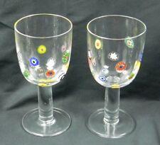 2 Leonardo Millefiori Wine Glasses Goblets Blown Glass Floral Inlay