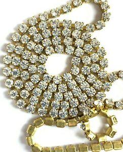 CH05 - 8 Feet Set w/ Swarovski Rhinestones - Crystal in Brass Chain SS12 / PP24