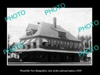 OLD LARGE HISTORIC PHOTO OF WOODVILLE HAMPSHIRE, THE RAILROAD STATION c1920