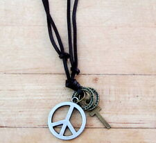 Mens PEWTER PEACE SYMBOL CROSS RINGS Adjustable Leather Surfer Choker NECKLACE
