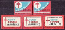 POLAND 1962 Matchbox Label - Cat.Z#344+350  Everyone to fight tuberculosis.