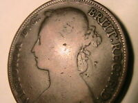 1894 GREAT BRITAIN Penny Ch aFine Original Brown Queen Victoria British UK Coin