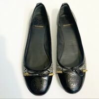 Tory Burch Size 7.5 Leather Snakeskin Ballet Flat Gray Round Toe Patent Animal