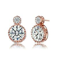 Rozatto Rose Gold Plated Cubic Zirconia Two Stone Classic Drop Earrings