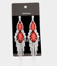 "5"" Red Big Silver Dangle Drop Rhinestone Prom Long Crystal Pageant Earrings"