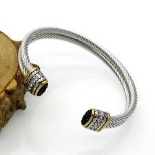 Men's Women's Stainless Steel Twisted Double Cable Wire Bracelet Bangle Jewelry