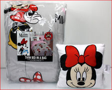 5 Pcs - Minnie Mouse Reversible Comforter + SHEET Set + Pillow Pink Gray ❤️NEW❤️