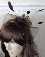 brown netting feather hair headband fascinator millinery wedding hat ascot race