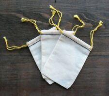 25 Mini Cotton Muslin Black Hem and Yellow Drawstring Bags