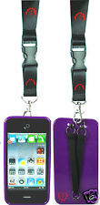 NEW! IPHONE 4/4S TPU CASE WITH DUO HAND AND NECK STRAPS - BLACK - PURPLE