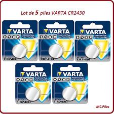 Lot 5 button batteries CR2430 3V lithium Varta