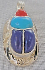 Scarab Silver Pendant inlaid with Lapis Lazuli Turquoise Coral (Hallmarked)